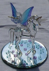 Crystal Flutist on Unicorn with Blue Wings