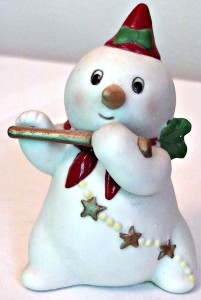 Christmas snowman with pointy hat