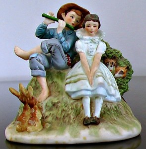 Country Boy and Girl with Rabbits